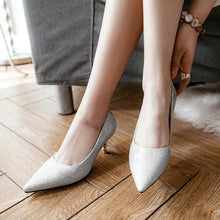 Load image into Gallery viewer, Pointed Toe Pumps Shallow-mouth Bride Shoes Stiletto Heel Mid Heel Woman Shoes