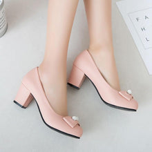 Load image into Gallery viewer, Lady Round-Headed Butterfly Knot Women's Pumps Mid Heels Shoes