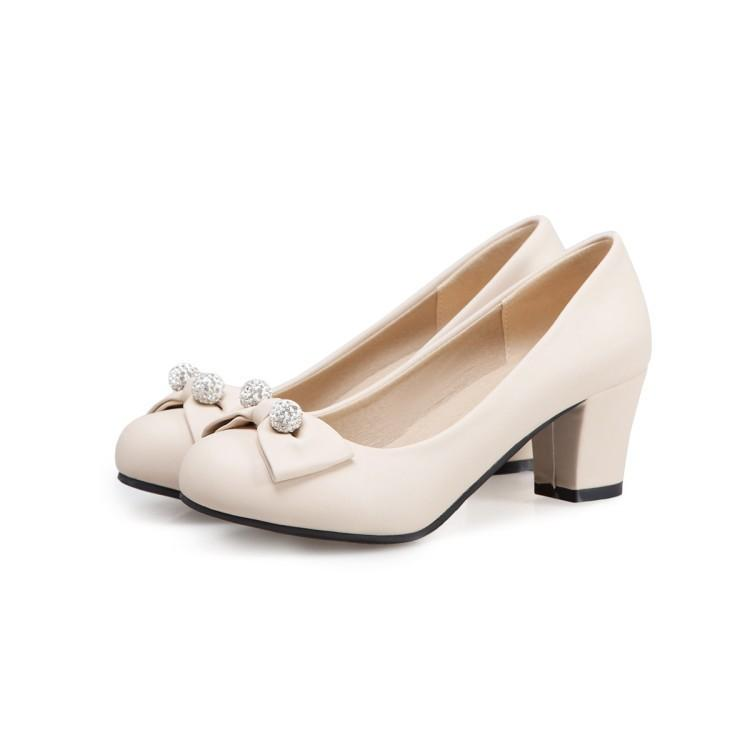 Lady Round-Headed Butterfly Knot Women's Pumps Mid Heels Shoes