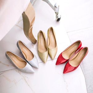 Pointed Toe Pumps Shallow-mouth Bride Shoes Stiletto Heel Mid Heel Woman Shoes
