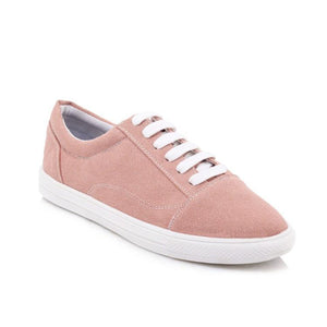 Girls Woman's White Lace-up Flat Shoes