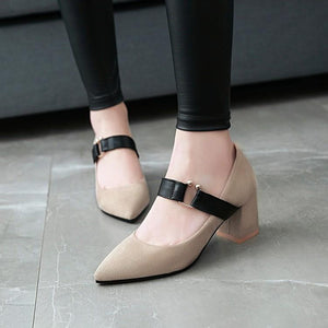 Woman's Pumps Pointed Coarse Heel