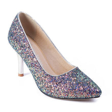 Load image into Gallery viewer, Stiletto Heel Pointed Toe Sequined Wedding Shoes Women Pumps