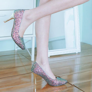 Stiletto Heel Pointed Toe Sequined Wedding Shoes Women Pumps