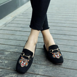 Girls Woman's Shallow Embroidery Flat Shoes