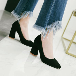 Pointed Toe High Heeled Shallow Mouth Block Heel Pumps