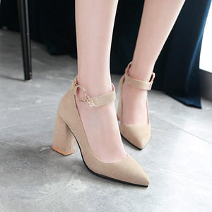 Woman's Pumps Pointed Thick Heel High Heeled