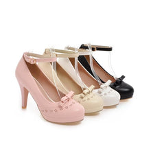 Load image into Gallery viewer, Women's Chunkey Heel Pumps Buckle Bow High Heel Shoes