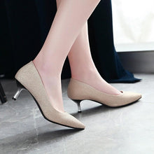 Load image into Gallery viewer, Pointed Toe Pumps Sequins Stiletto Heel Mid Heel Woman Shoes
