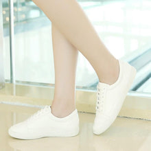 Load image into Gallery viewer, Girls Woman's White Lace-up Flat Shoes