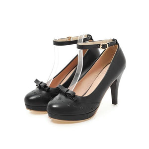 Women's Chunkey Heel Pumps Buckle Bow High Heel Shoes