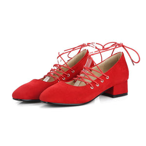 Lace Up Suede Middle Heeleded Women Pumps