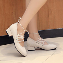 Load image into Gallery viewer, Lace Up Suede Middle Heeleded Women Pumps