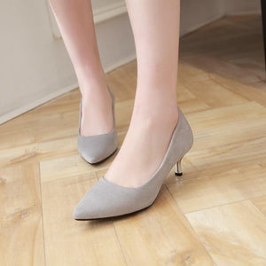 Pointed Toe Pumps Stiletto Heel Mid Heel Woman Shoes