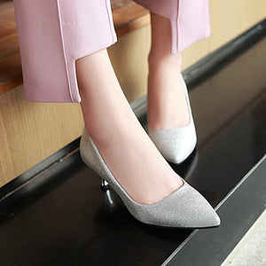 Pointed Toe Pumps Sequins Stiletto Heel Mid Heel Woman Shoes