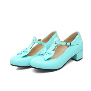 Lady Round Head Sweet Bow Princess Shoes Middle Heeled Men Chunkey Heels Pumps