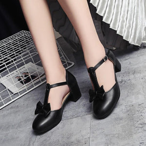 Lady Sweet Butterfly Knot Thick-heeled T Strap Woman's Chunkey Heels Pumps