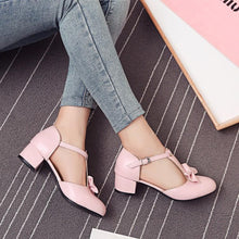 Load image into Gallery viewer, Lady Sweet Butterfly Knot Thick-heeled T Strap Woman's Chunkey Heels Pumps