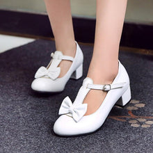 Load image into Gallery viewer, Lady Round Head Sweet Bow Princess Shoes Middle Heeled Men Chunkey Heels Pumps