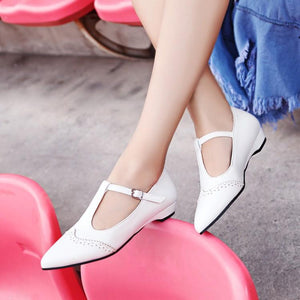 Woman's T Straps Buckle Low Heels Shoes