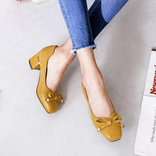 Load image into Gallery viewer, Lady Square Head Thick Heel Shallow Mouth Middle Heels Woman Pumps