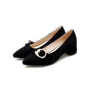 Lady Pointed Toe Shallow Mouth Women's Pumps Mid Heels Shoes
