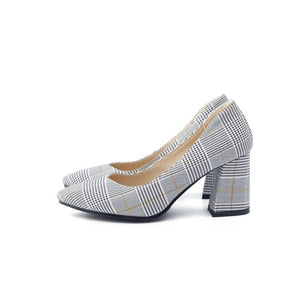 Shallow Toe Women Plaid High Heeleds Pumps