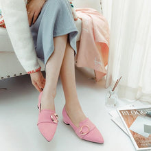 Load image into Gallery viewer, Lady Pointed Toe Medium-heel Shallow-mouth Chunkey Pumps