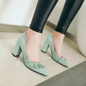 High Heeled Lace Shallow Mouth Elegant Large Size Women Pumps