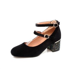 Lady Korean Square Head Sequins Low Heels Shallow Mouth Woman Chunkey Heels Pumps