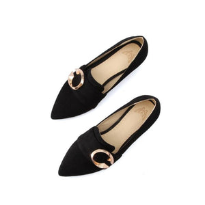 Lady Pointed Toe Medium-heel Shallow-mouth Chunkey Pumps