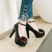 Load image into Gallery viewer, Sweet Bow Super High Heeled Buckle Platform Pumps