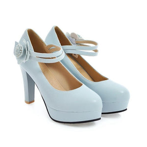 Woman's Pumps Sweet Flowers Platform High Heeled s