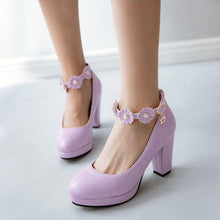 Load image into Gallery viewer, Sweet Flower Fastener High-heel Block Pumps