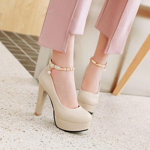 Woman's Pumps Super High Heeled Thick Heel Round Head Buckle Belt