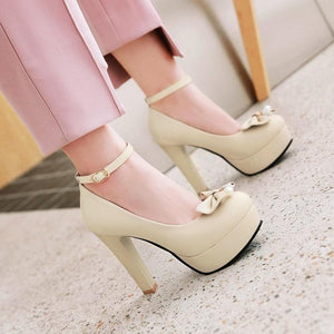 Woman's Pumps High-heeled Sweet Butterfly Knot