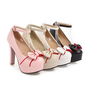 Sweet Bow Super High Heeled Buckle Platform Pumps