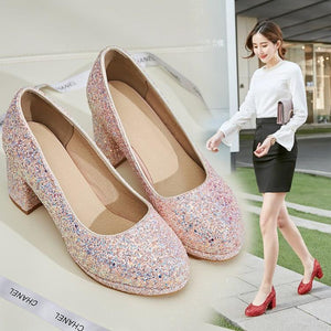 Sequined High Heeled Shallow Mouth Wedding Shoes