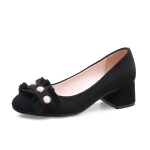 Lady Round Head Women's Chunkey Heels Pumps