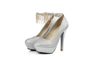 Sexy Super High Heel Rhinestone Tassel Shallow Mouth Wedding Shoes Women Pumps