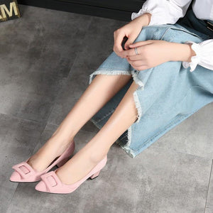 Woman's Pumps Pointed High Heeled Square Buckle