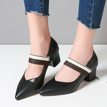 Load image into Gallery viewer, Lady Pointed Toe Mary Janes Women's Chunkey Heels Pumps