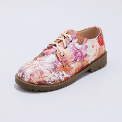 Woman Lace Up Floral Printed Princess Shoes