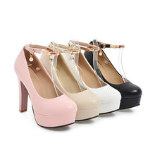 Load image into Gallery viewer, Woman's Pumps Super High Heeled Thick Heel Round Head Buckle Belt