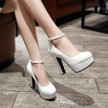 Load image into Gallery viewer, Sequins Thick Heel Super High Heeled Buckle Large Size Platform Pumps