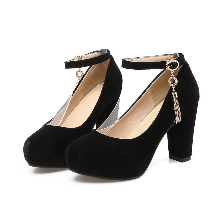 Woman's Pumps Thick Heel High Heeled Shallow Buckle