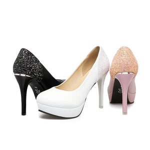 Stiletto Heel Super High Heels Shallow Mouth Sequin Platform Pumps