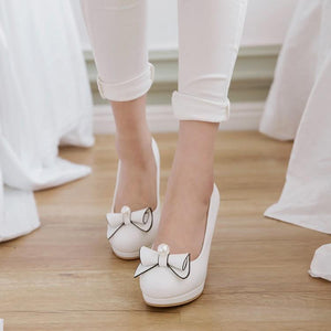 Bow Tie High Heeled Shallow Mouth Women Pumps