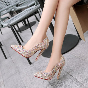 Super Stiletto Heel Shallow Mouth Pointed Toe Pumps