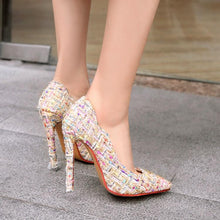 Load image into Gallery viewer, Super Stiletto Heel Shallow Mouth Pointed Toe Pumps